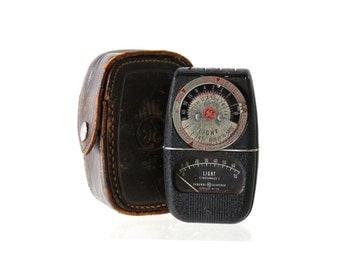 Vintage Exposure Meter, Leather Case, Retro Gadget