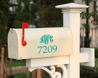 "House number with monogram Address Mailbox 7"" x 7"" you choose the COLOR and LETTERS"
