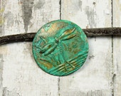Verdigris Dragonfly Disk Charm Brass Hand Applied {2pc} F1074VG