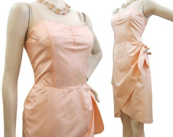 Vintage Sarong Style Dress 80s Peach Cocktail Wiggle Sundress S M