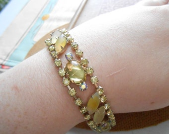 light green rhinestone fruit salad bracelet rhinestone bracelet great vintage condition vintage costume jewelry - in okay condition