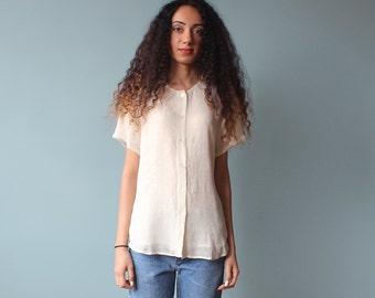 cream button up basic top/ rayon blouse/ 1980s/ small - medium