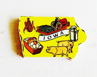 1960s Iowa Brooch - Pin / Unique Wearable History Gift Idea / Upcycled Vintage Hand Cut Wood Jewelry / Timeless Gift Under 25