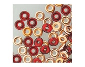 Czech Glass O Beads 3.8mm Disc Bead 38319 8.1gr, Red Capri Gold, 1.3mm Hole, Czech Pressed Glass, Disk Beads, Rondelle Bead