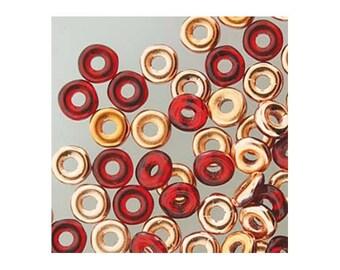 Czech Glass O Beads 3.8mm Disc Bead 38319 8.1gr, Red Capri Gold, 1.3mm Hole, Czech Pressed Glass, Disk Beads, Rondelle Bead