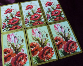 Vintage Poppies and Roses Playing Cards