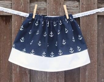 Anchor Skirt, Navy Blue Nautical Skirt  Sailor Skirt, Anchors