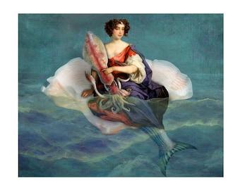 Mermaid Squid Shell Blue Print Digital Art Surreal Home Decor Beach House