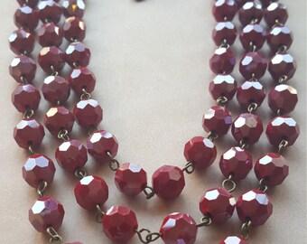 Red Lantern Triple strand Necklace