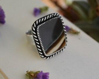 Modern Polychrome Jasper Ring. Black Brown Square Statement Ring. Large Sterling Silver Stone Ring. Dark Desert Landscape. Size 8.