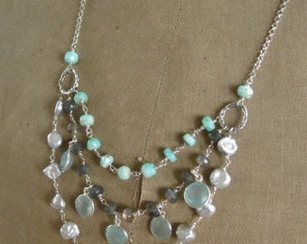 "Multi strand Boho Gemstone Necklace-Tiered Necklace-""Storm Cloud"""