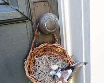Ring Bearer Birds Nest with Bird and Ceramic Eggs, Woven, Honeysuckle Baby Shower or Wedding Decor