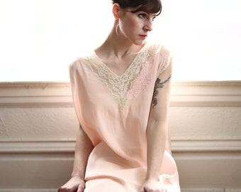 SALE- Antique Slip . Pink & Lace