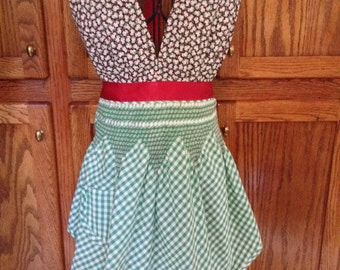 Pretty Aprons For Women. This is a beautiful vintage apron with a frog halter and red satin ties. Lovely Apron. Fun to entertaining in.