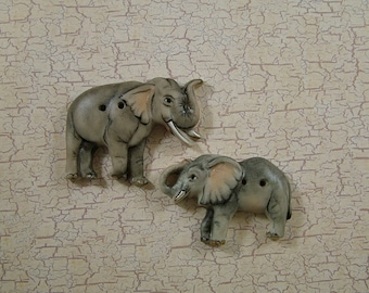 Elephant Buttons set of 2