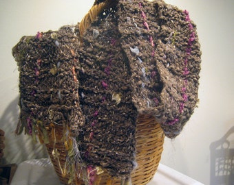 Handspun Hand Knit Wool Scarf Art Yarn Bulky Merino Extra Long Soft Wool Natural Walnut Brown Handmade with Ribbon Silk My Ewe, Unique Scarf