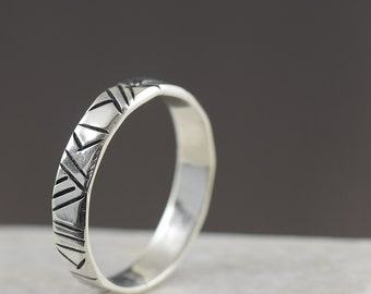 Unisex ring Sterling silver stacking ring geometric ring tribal ring hammered ring sterling silver ring