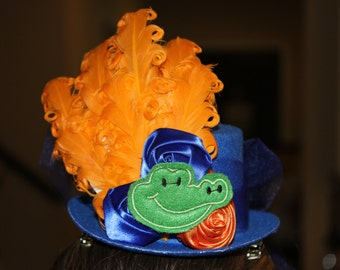 Florida Gators Fascinator,  Handmade, Mini Top Hat,Alligator Hat,Spirit Hat, Orange Blue Hat, Football Spirit , Gator Costume Hat