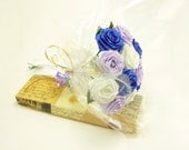 Origami Classic Blue Rose Bouquet - Royal Blue, Iris purple, Ivory white (1 Dozen Gift Wrapped), Anniversay Gift, Valentines day gift