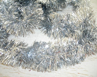 silver Christmas tinsel - 11 feet - vintage banner supplies - tree decor - gift trim - sparkly shabby chic cottage decor - hollywood regency