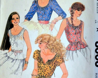 Misses' Peasant Tops, McCall's 8006 Vintage 80's Sewing Pattern, Boho, Size 10, 32.5 Bust