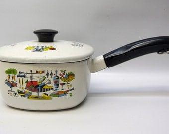 Gorgeous enamelware pot with 50s style kitchen still life