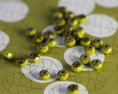 CHARTREUSE BITS .. 30 Picasso Czech Glass Rondelle Beads 3x5mm (1970-30)