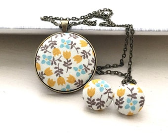 Handmade Fabric Pendant Necklace-Dutch Style and Theme- Perfect Gift or Add to Your Existing Collection.