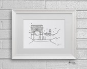 Sketch Series - Washington Square Park Arch, New York City - Art Print (5 x 7)