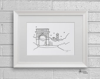 Sketch Series - Washington Square Park Arch, New York City - Art Print (5 x 7)