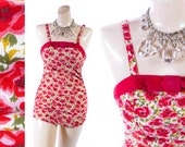 RESEEVED for 24 hrs ////// Vintage 50s Swimsuit // 1950s Swimsuit // Catalina Swimsuit // Floral Swimsuit // Pin Up Swimsuit sz XS