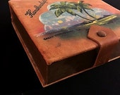 Vintage Leather Handkerchief Box 1920s Hand Painted Palm Tree on Beach Green Cove Springs Fla Souvenir Antique Box Trinkets Box