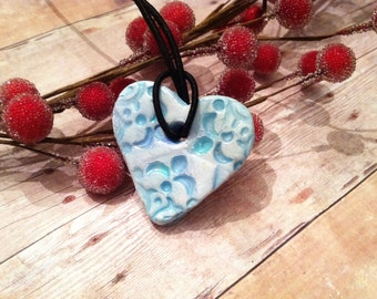 Essential Oil Jewelry  Aromatherapy Diffuser Jewelry Ceramic Pottery Blue Heart  Necklace Pendant