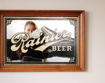 1970s Rainier Beer Bar Mirror >>> Man Cave Decor