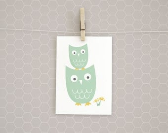 Clearance | Art Print | Mom and Baby Owl | Nursery | Gender Neutral | 5x7 | Kids Wall Art