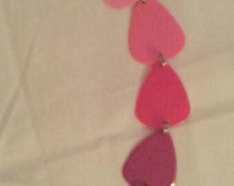 Shades of Pink Guitar Pick Bracelet