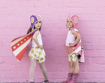 Retro Moto Hat and Cape set - Bomber Superhero Girls Costume - Superhero Cape and Helmet -Birthday Gift for Girls - Super Girl Dress up