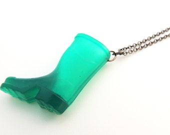 Green Wellington Boot Necklace -- Fun Gumboot Charm Pendant -- Gunmetal Black Chain -- UK Shop