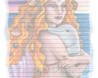 Digital Printable Journal Page Mermaid 13 Dolphin ocean Stationary 8x10 Download Scrapbooking Paper Template art painting L.Dumas