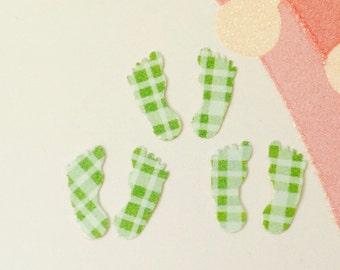Feet Die Cut Green Confetti Baby Shower Card Scrapbooking Embellishment Table Decor Party Supplies Sticker Birthday Party Invitation