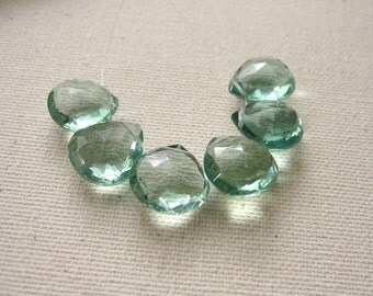 6 Teal Green Fluorite Faceted Hearts 11x11mm Top Quality - Gemstone Briolette Beads