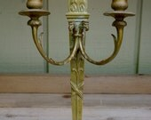 Antique Neoclassical Brass Double Candle Sconce