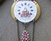 Antique brooch PINK pocket watch PARTS PIN Rhinestones jewelry vintage Steampunk