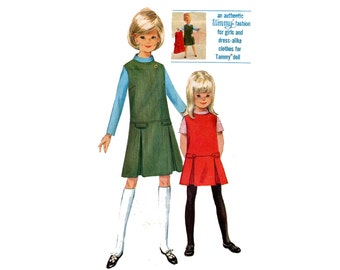 1960s Girls Jumper and Blouse Pattern Matching Tammy Doll Clothes Drop Waist Dress Box Pleats Simplicity 6150 Size 14 Vintage Sewing Pattern