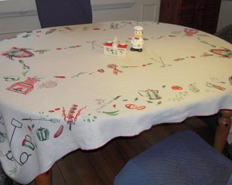 Vintage BBQ Tablecloth Charcoal Cows & 1st Prize