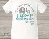 First Mother's Day bodysuit - ELEPHANT personalized first mothers day gift from baby boy (or any age!) MMGA1-063-1