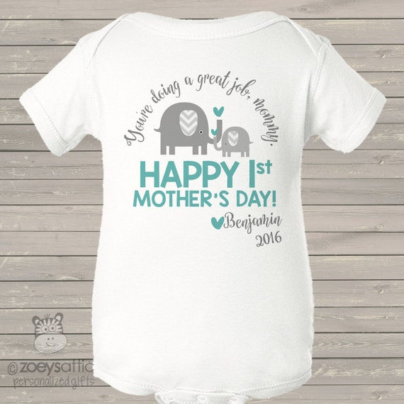 First Mother's Day bodysuit ELEPHANT personalized first