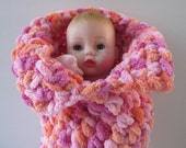Huggums Sleeping Bag, Peach and Pink Doll Cocoon, Baby Doll Blanket, Doll Bunting, Crochet Doll Clothes, Fits Huggums and Most 12 inch Dolls