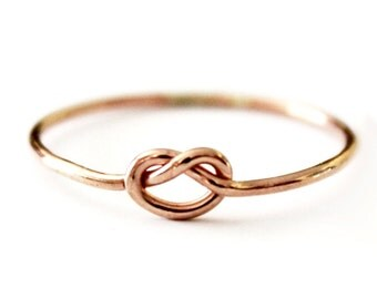 Dainty True Lover's Knot Ring - 14K Rose Gold Filled Love Knot  - 925 Sterling Silver - Knot Ring - Promise - Friendship - Best Friend