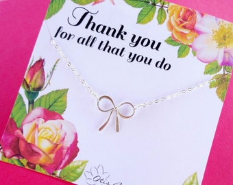 Administrative professionals day, secretary appreciation, Teacher gift idea, Silver bow necklace, teacher appreciation day, Thank you gift